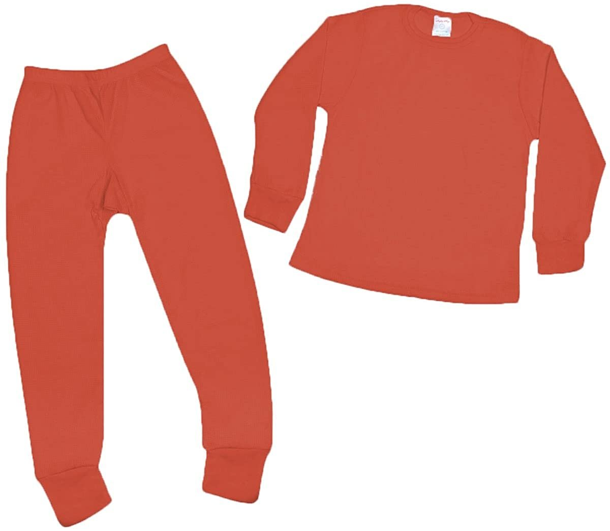 Mighty Hugs Girls Thermal 2pc Set Long John Underwear Top Bottom Waffle Knit