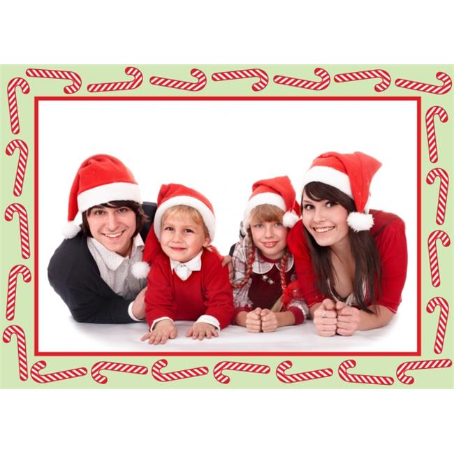 Birchcraft Studios 2220 Candy Cane Photo Card - Red Lined Envelope with White Lining - Red Ink - Pack of 25