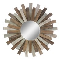 """Stonebriar Large Round 32"""" Wooden Sunburst Hanging Wall Mirror with Attached Hanging Bracket"""