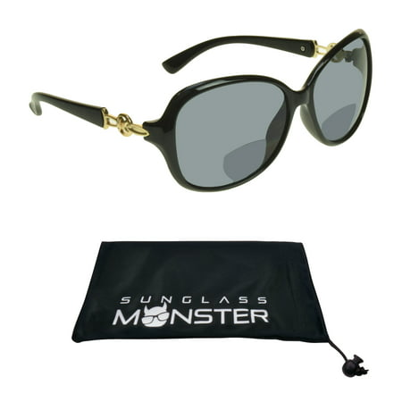 Sunglass Monster Womens Bifocal Reading Sunglasses Reader Sexy Oversized Black Frame with Gold