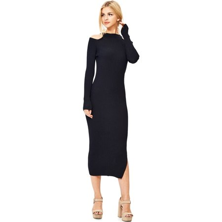 f3219fbc3dfc Hendi - Hendi Women s Sexy Long Sleeve Fitted Midi Dress w Leg Slit (S M