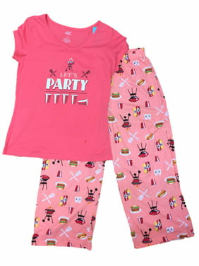 Womens Lets Party BBQ Pajamas Cookout Hamburger Sleep Set