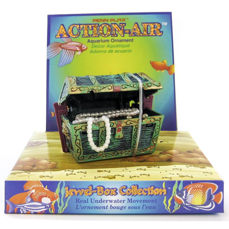 """Penn Plax Action-Air Mini Treasure Chest Aerating Aquarium Ornament 2.5""""W x 2""""H"""
