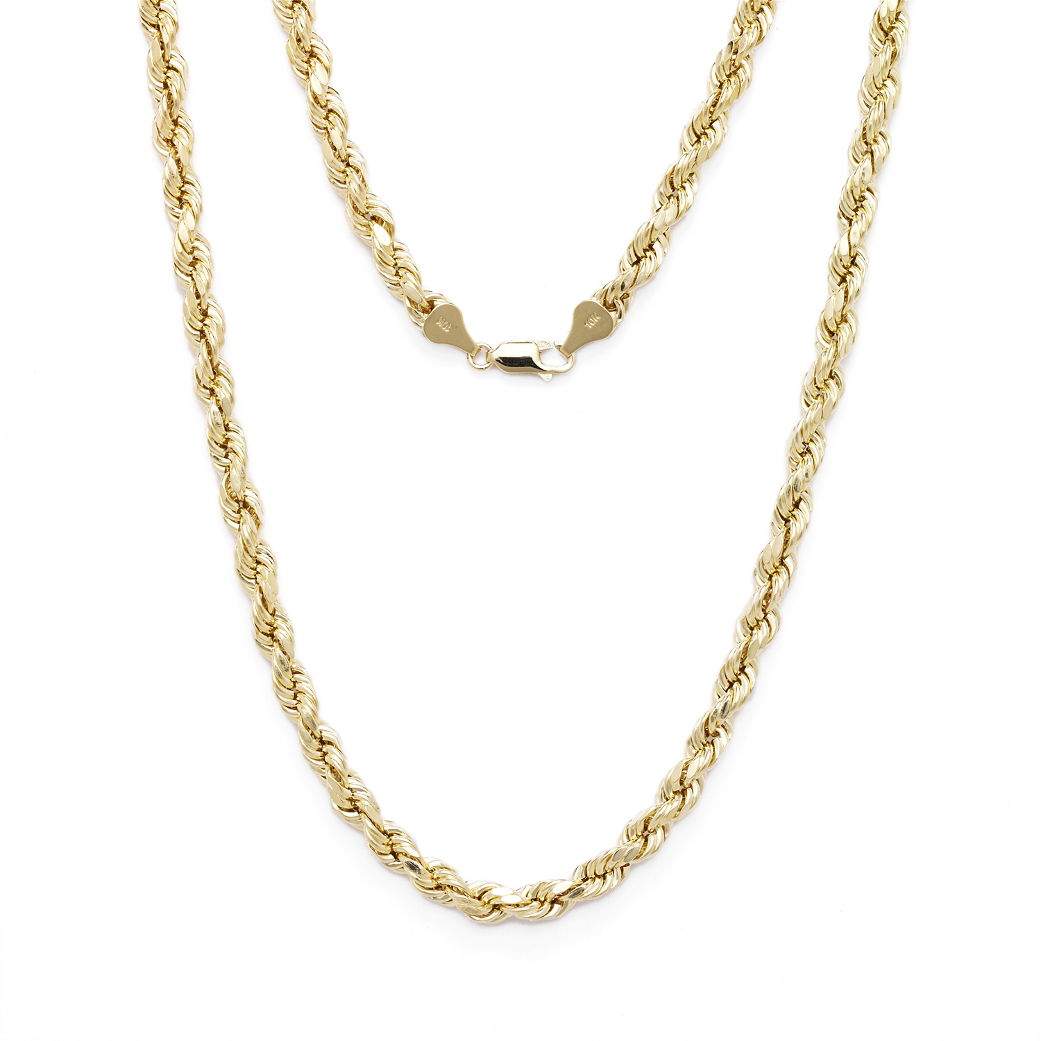 10k Yellow Gold Diamond Cut Hollow Rope Chain Necklace with Lobster Claw Clasp for Men and Women, 3mm by Glad Gold
