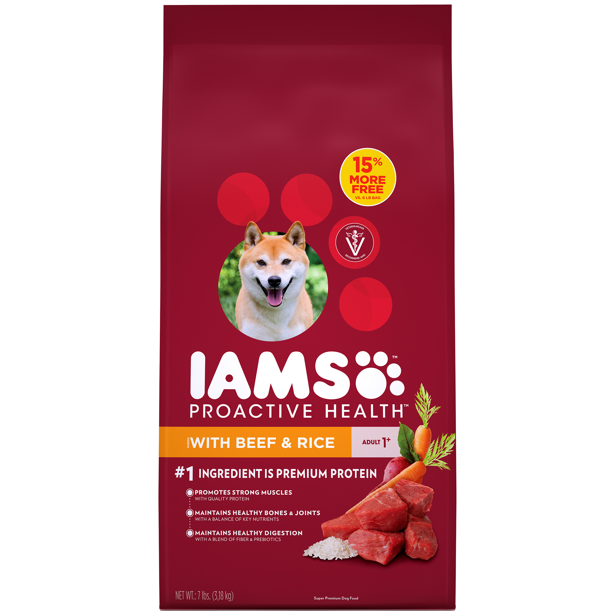 Iams Proactive Health Dry Dog Food, Beef And Rice, 7 Lb