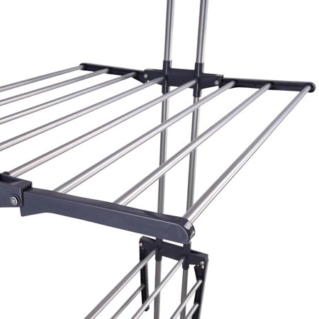 47963f79c22 Yescom Rolling Collapsible Clothes Drying Rack 3-Tier Folding Laundry Dryer  Hanger Airer Compact Storage ...