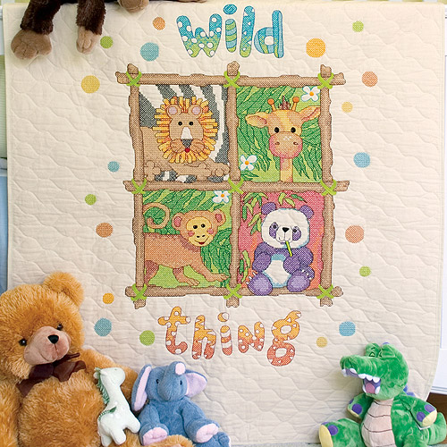 "Dimensions Baby Hugs ""Wild Thing"" Quilt Stamped Cross Stitch Kit, 34"" x 43"""