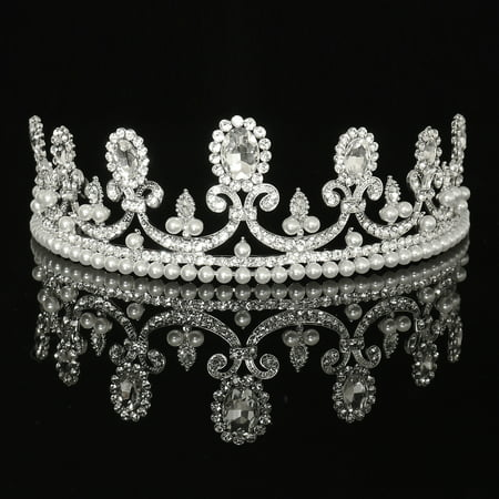 Luckyfine Crystal Rhinestone Bridal Princess Pearls Tiara Crown Wedding Prom Headband (Pearl Tiara)
