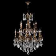 Worldwide Lighting W83351B30 Versailles Collection 18 Light Antique Bronze Finish with Clear Crystal Chandelier
