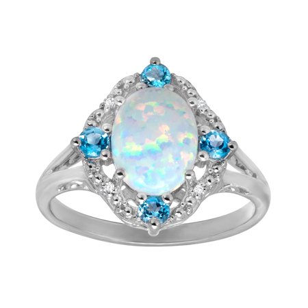 1.6 Ct Citrine Ring (1 1/6 ct Created Opal and Natural Swiss Blue Topaz Ring with Diamonds in Sterling)