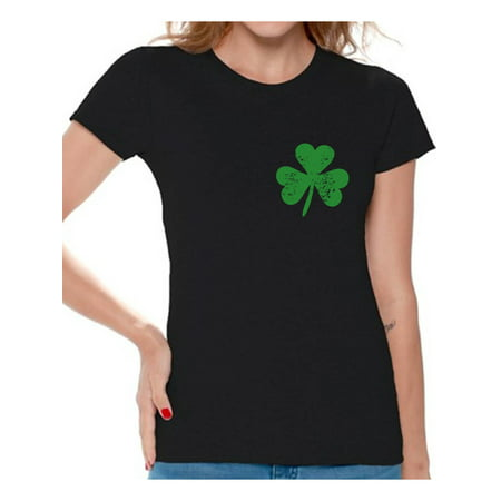 Awkward Styles Womens St. Patricks Day Shirt Irish Clover Pocket Shirt Irish Pride Gifts for Her St Patricks Day Tee Irish St Paddy's Day Outfit Lucky Shamrock Shirts for Women - Irish St Patrick's Day Sayings