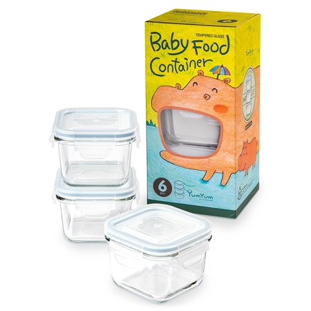 Glasslock  Yum Yum Eco Friendly Airtight Spill Proof Square Baby Food Container 6 Piece Set