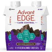 EAS AdvantEDGE Carb Control Protein Shake, Rich Dark Chocolate, 17g Protein, 4 Ct