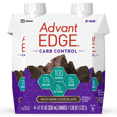 EAS AdvantEDGE Carb Control Protein Shake, Rich Dark Chocolate, 17g Protein, 4 Ct