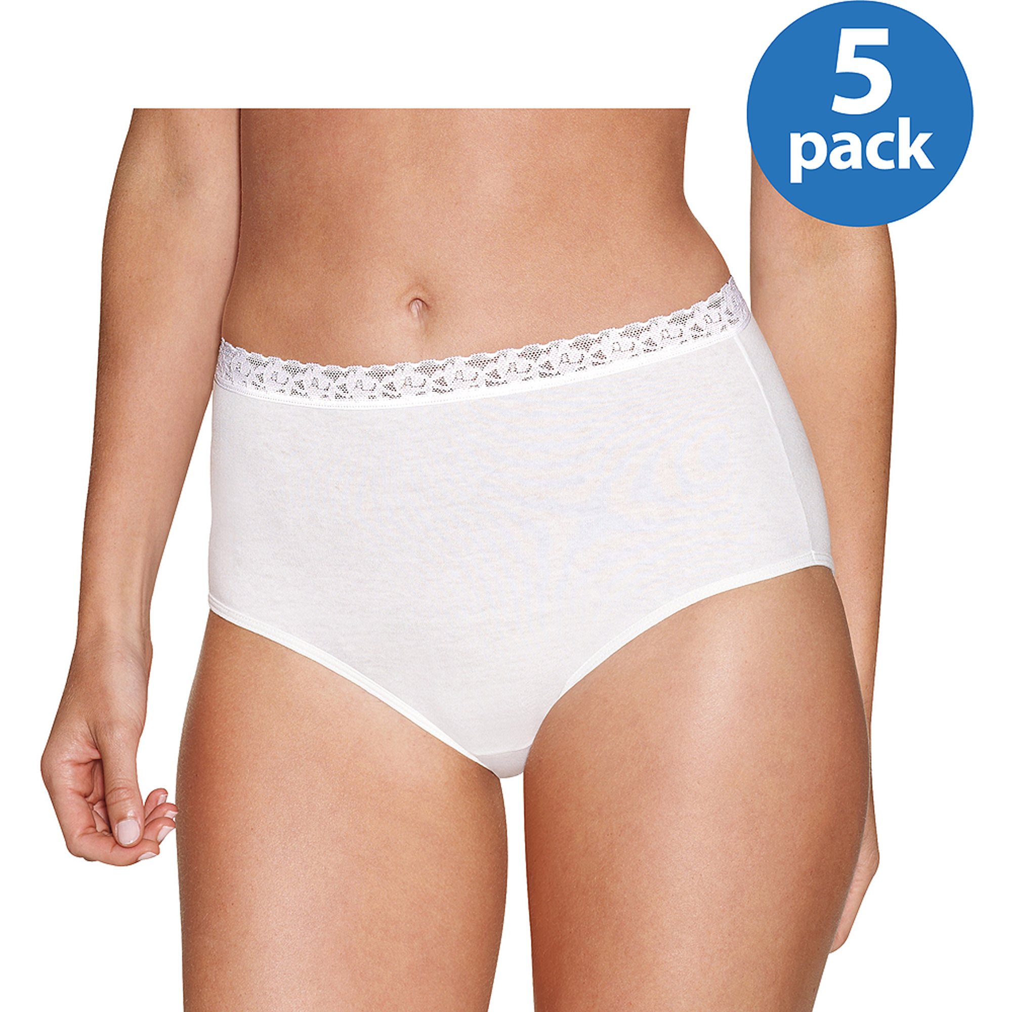 Hanes Women's Cotton Brief with Lace 5 Pack