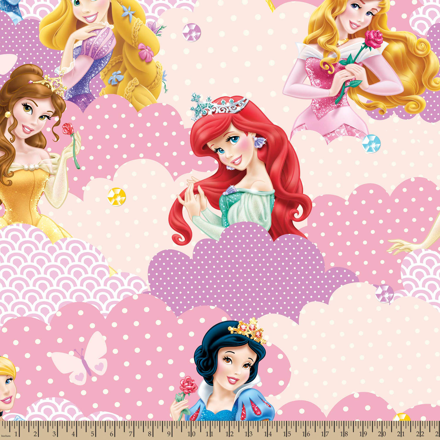 "Disney I Am A Princess Clouds, Fleece, Yellow, 59/60"" Width, Fabric by the Yard"