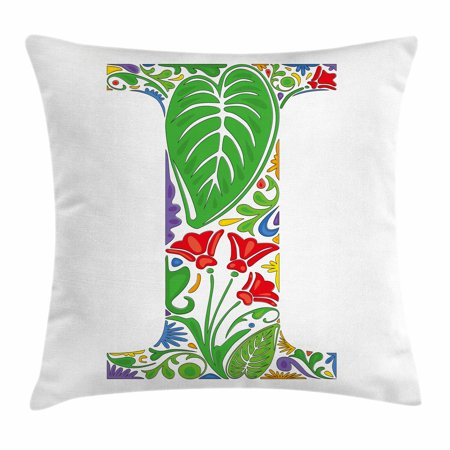Letter I Throw Pillow Cushion Cover Initial Capital Nature Inspired Pattern Fl Swirl Blooms