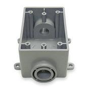 CANTEX Weatherproof Electrical Box,  1-Gang,  2-Inlet,  PVC 5133463