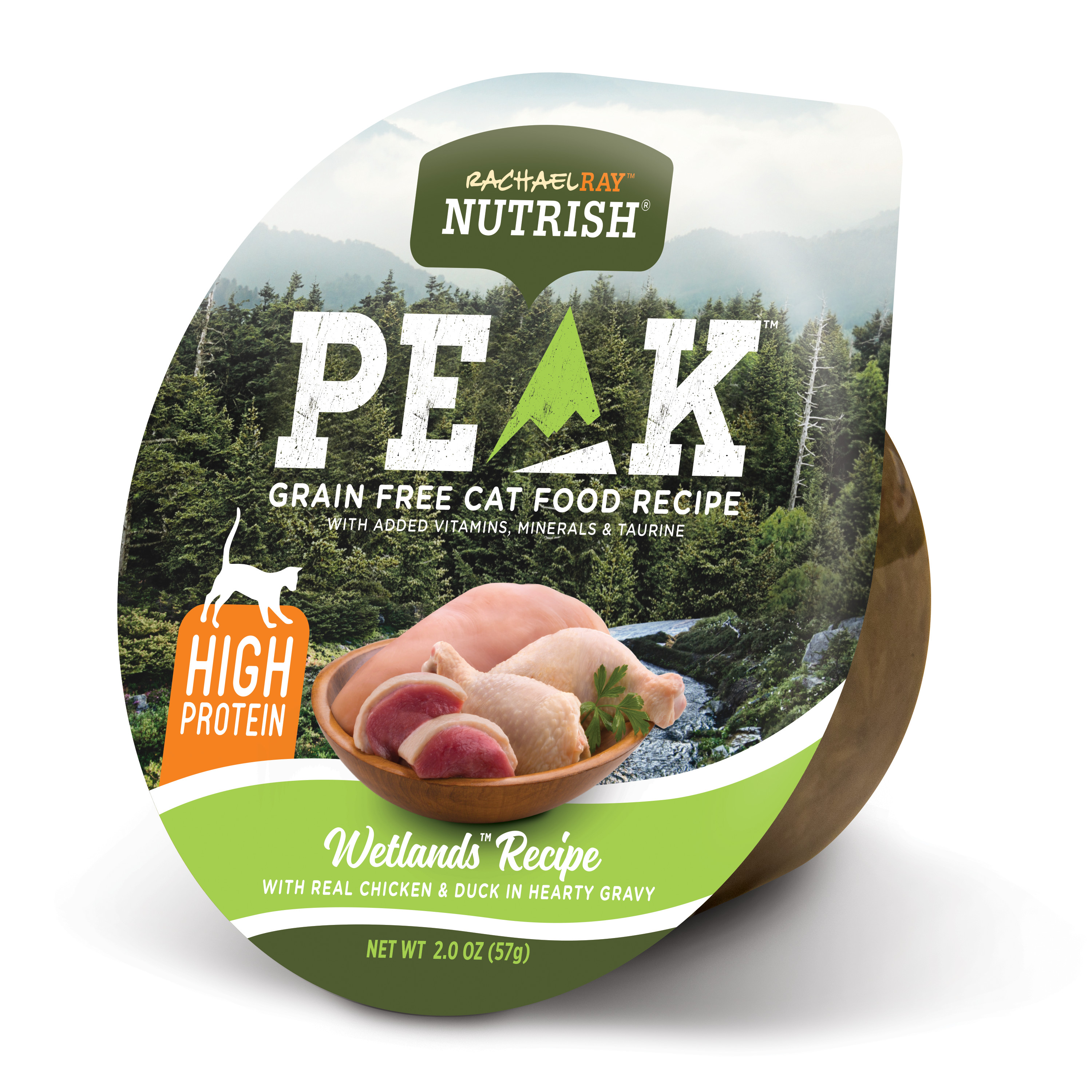 (5 Pack) Rachael Ray Nutrish PEAK Grain Free Wetlands Recipe with Real Chicken & Duck in Hearty Gravy Natural Wet Cat Food, 2 oz