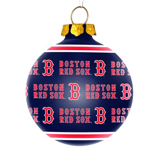 Boston Red Sox Official MLB  Repeat Glass Ball Christmas Ornament by Forever Collectibles