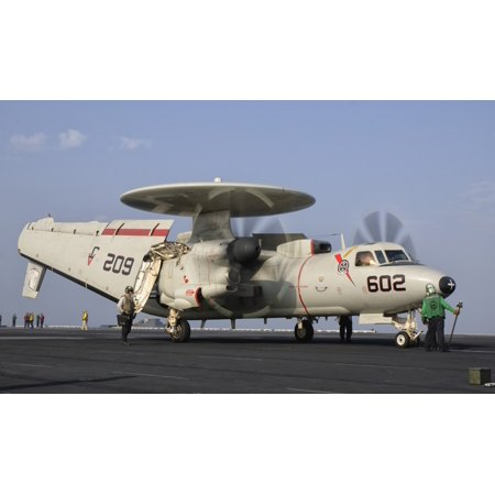 An E 2C Hawkeye Ready To Launch From The Deck Of Uss George Hw Bush Canvas Art   Giovanni Collastocktrek Images  36 X 22