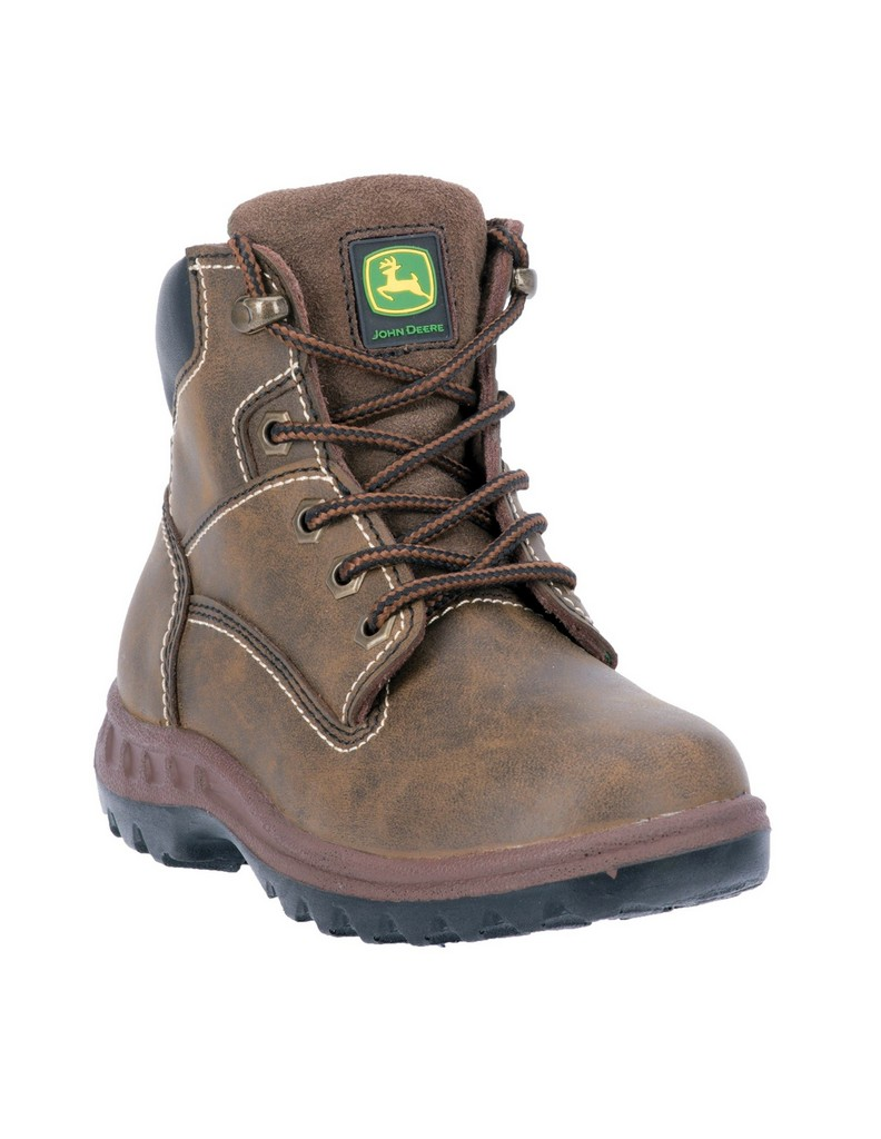 John Deere Work Boots Boys Cowboy Lace Up Distressed Brown JD3191 by John Deere