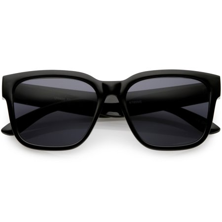 sunglassLA - Classic Horn Rimmed Sunglasses Wide Arms Neutral Colored Square Lens 55mm - 55mm