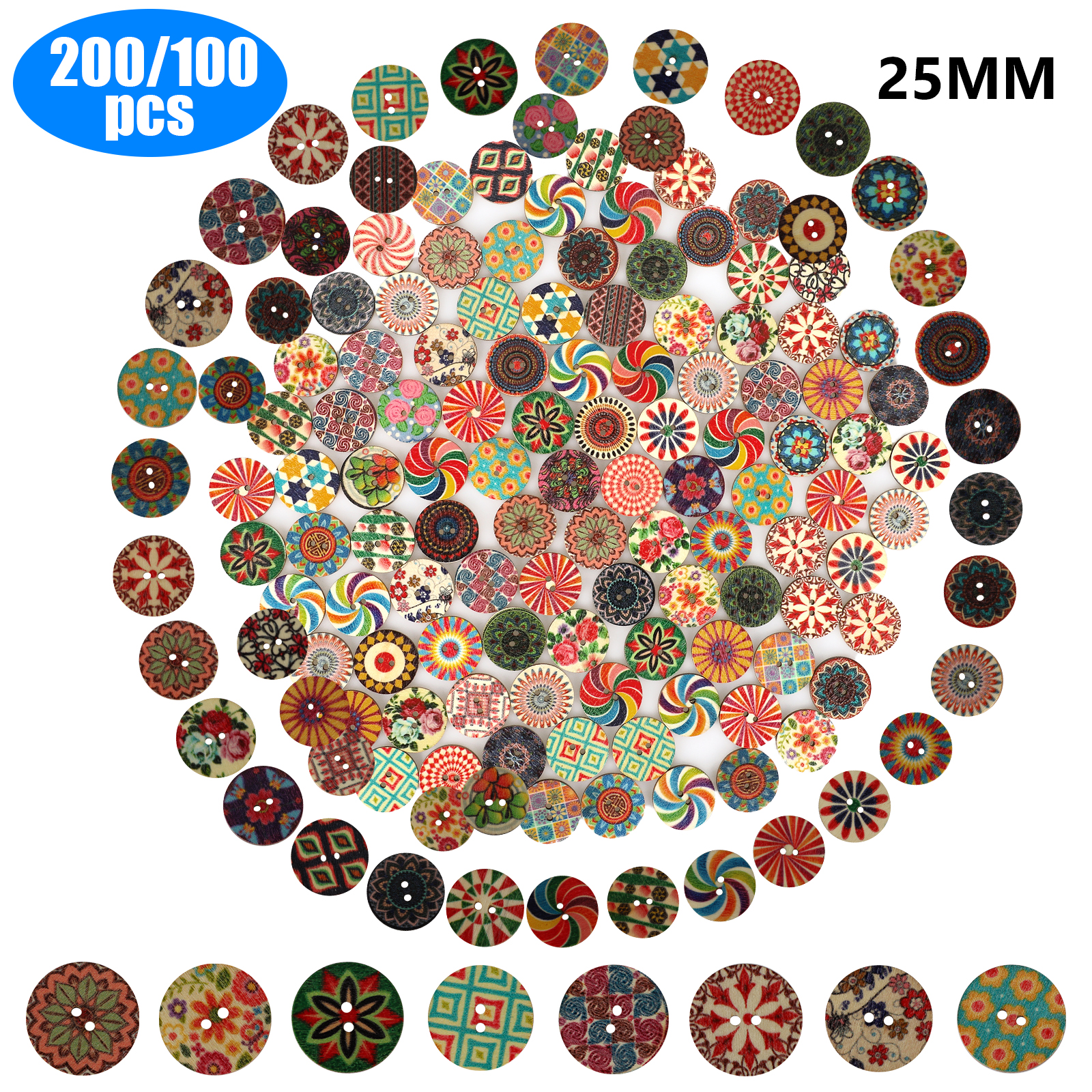 100pcs Flower Wooden Buttons 4 Holes Mixed Color Sewing Scrapbooking Kids DIY