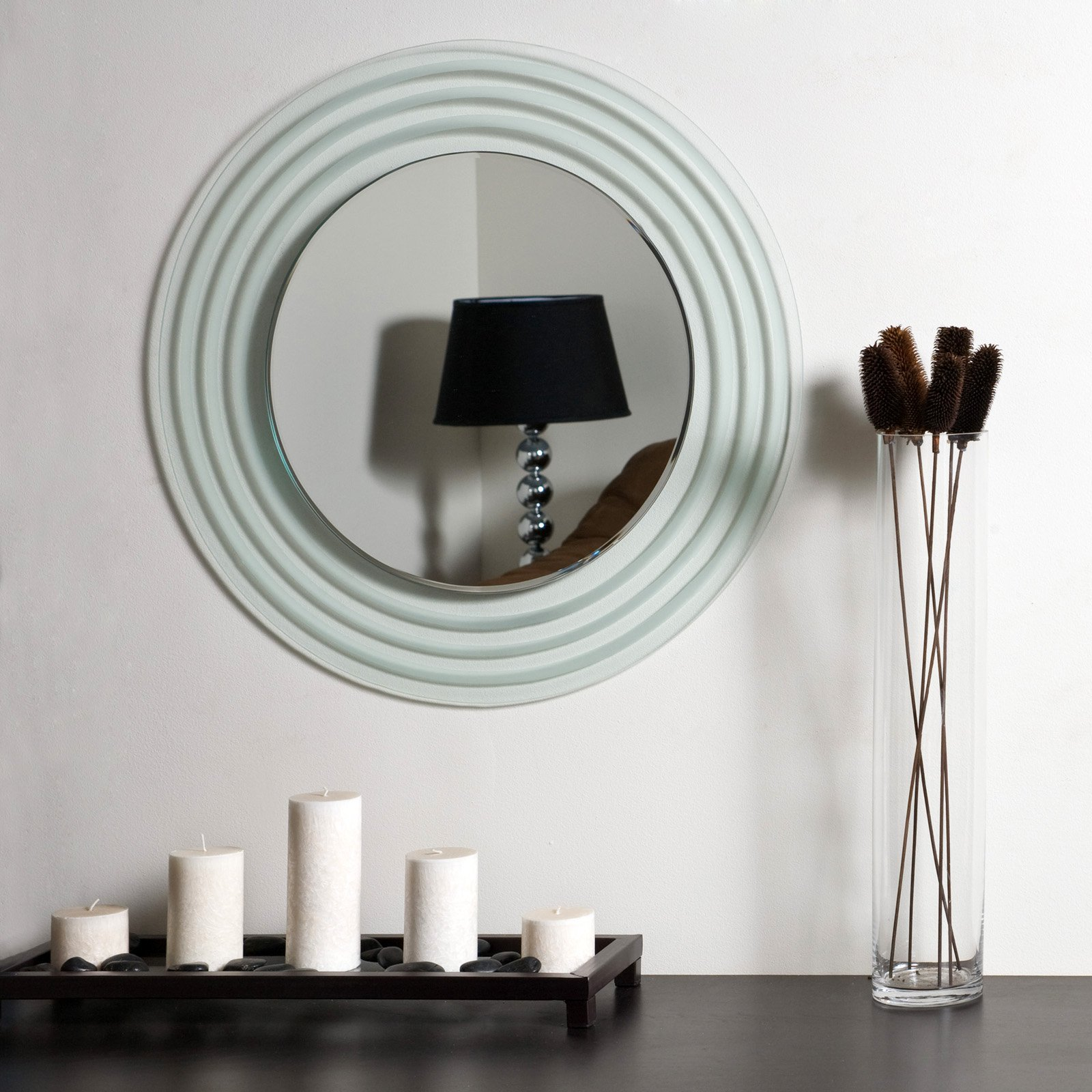 Isabella Round Frameless Bathroom Mirror by Decor Wonderland of US