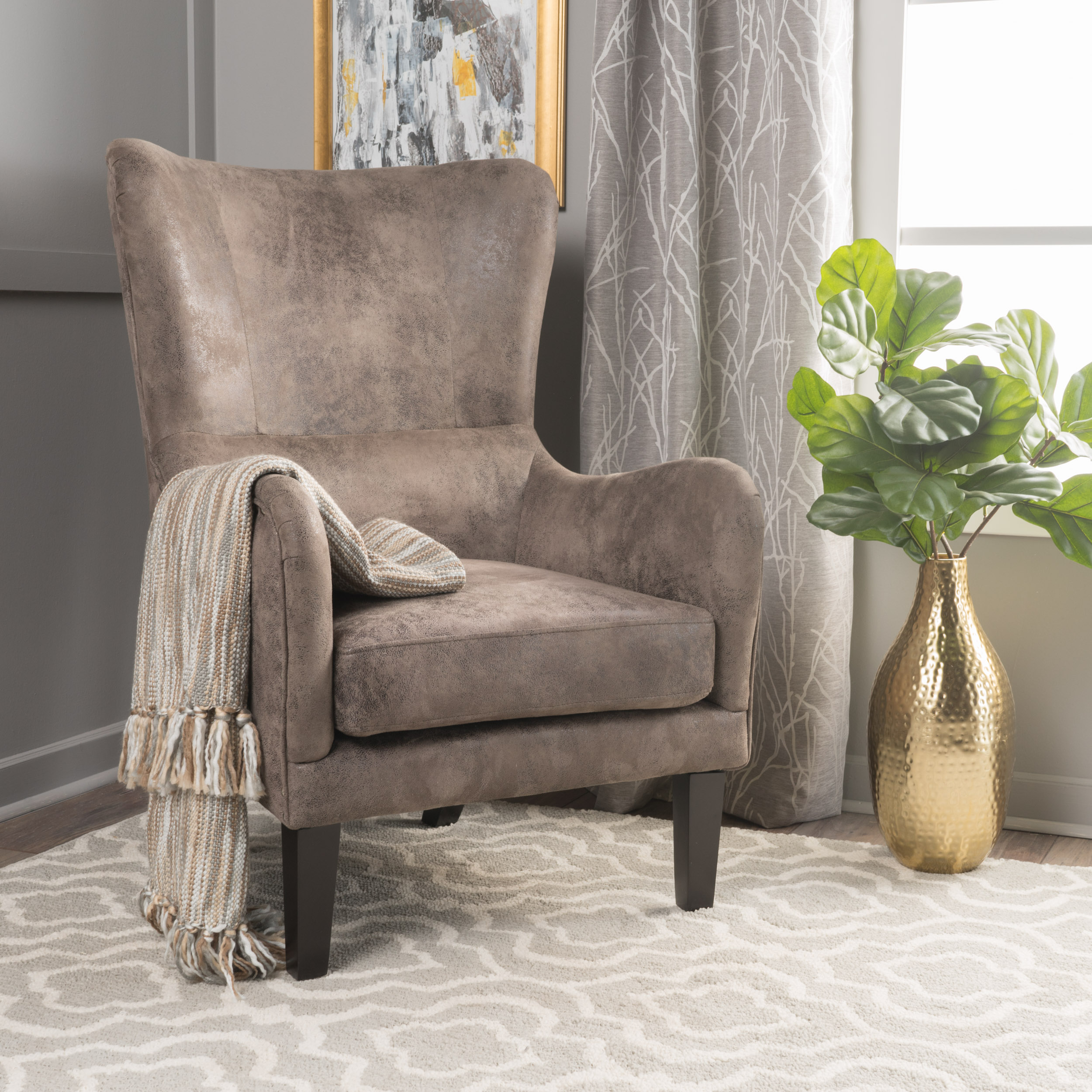Noble House Jordan Grey Brown Fabric Hi-Back Studded Accent Chair