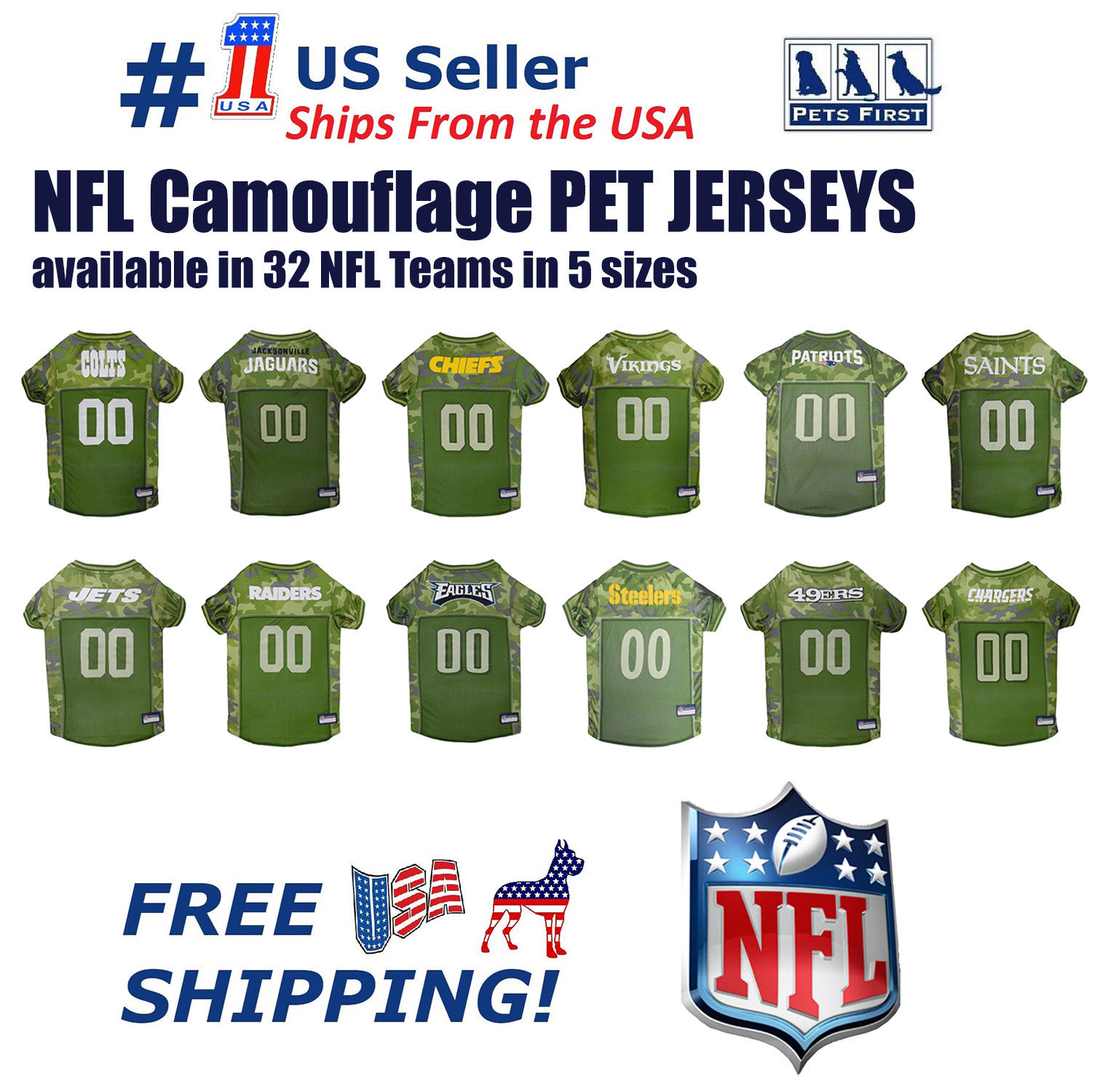 Pets First NFL Jacksonville Jaguars Camouflage Pet Jersey for Cats and Dogs - Licensed