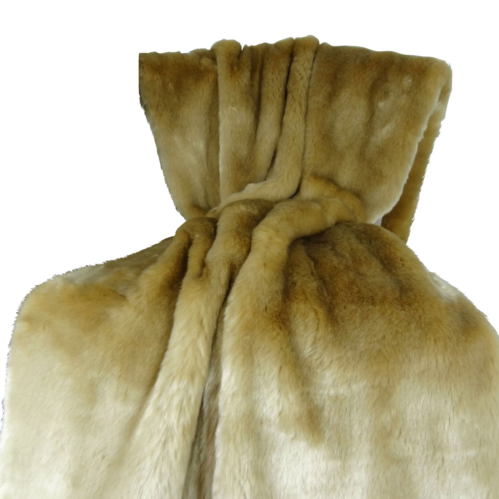 Plutus Brands Tissavel Taupe Faux Fur Handmade Throw