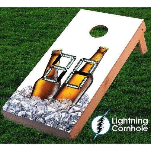 Lightning Cornhole Electronic Scoring Beer Bottles and Ice Cornhole Board
