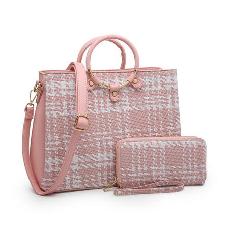 POPPY Women Ring Circle Top Handle Satchel Handbag with Matching Wallet Shoulder Tote Bag 2 In 1 Set-Pink