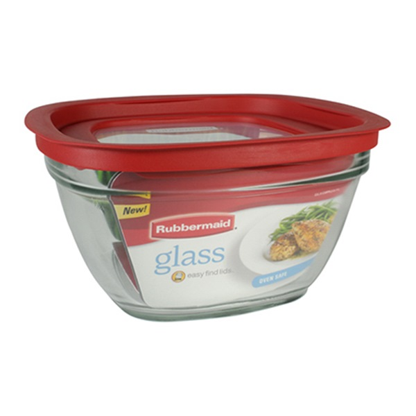Rubbermaid Glass with Easy Find Lids, 11.5 Cup, Square, Red