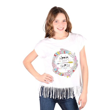 Lori&Jane Girls White Graphic Print Hippie Fringe Short Sleeve T-Shirt](Girl Hippies)