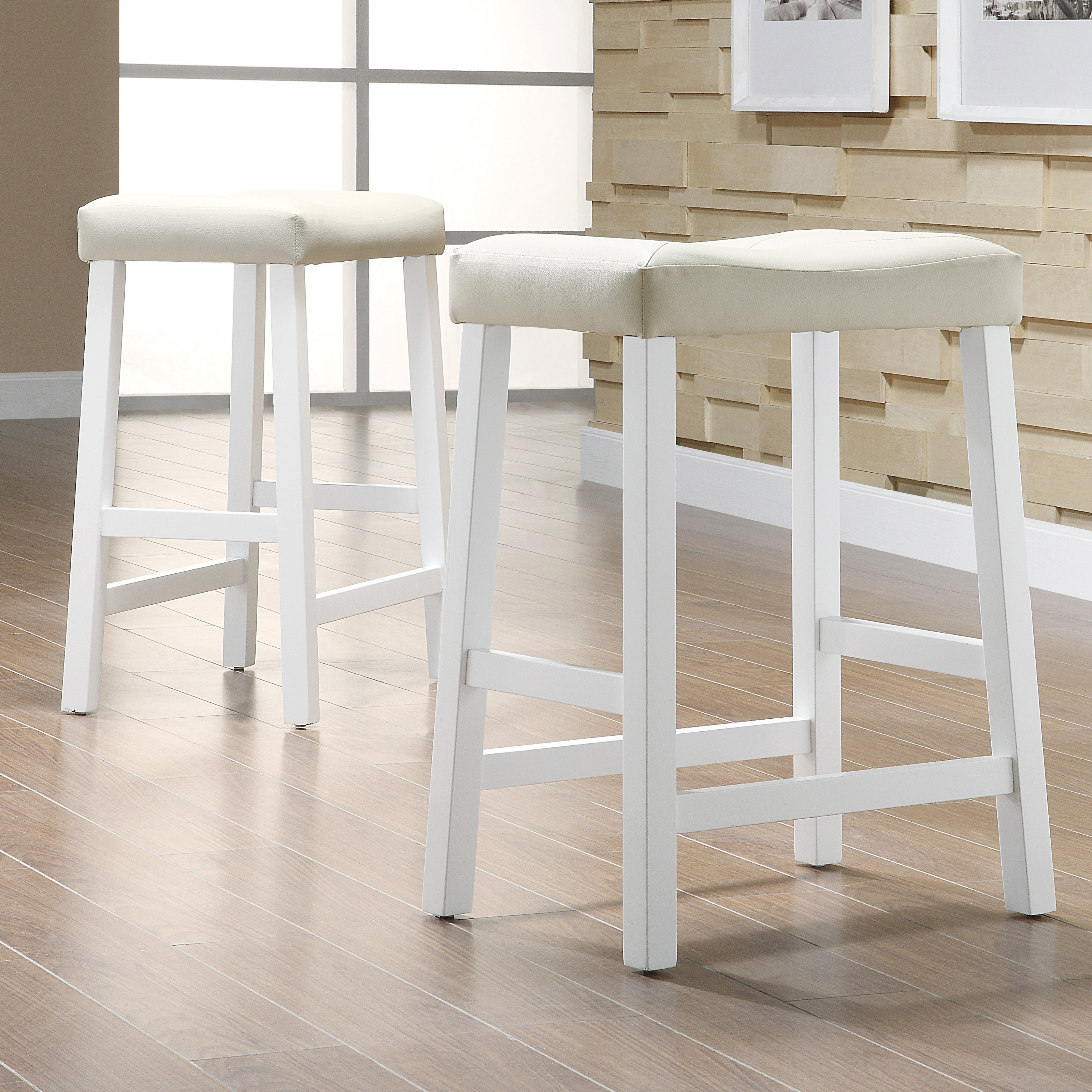 Weston Home Scottsdale Saddle Counter Stool White - Set of 2