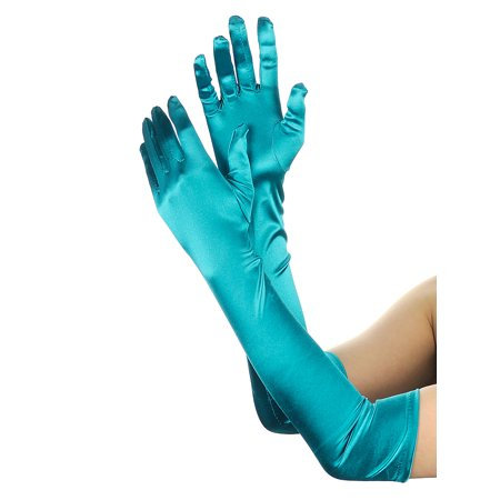 NYFASHION101 Women's Fashionable Classy Elbow Length Satin Gloves 12BL, Teal