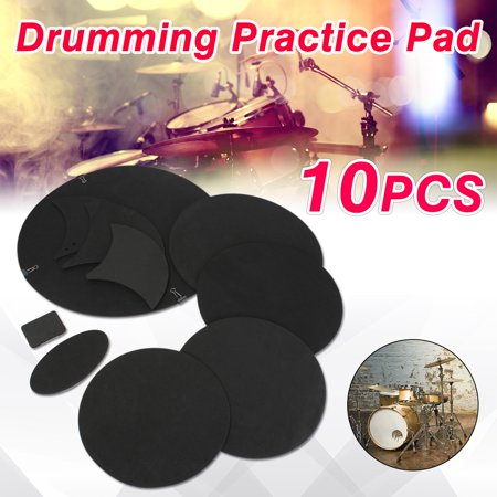 Drillpro 10Pcs/set Black Rubber Foam Bass Snare Drum Sound Off Quiet Mute Silencer Drumming Practice Pad Set