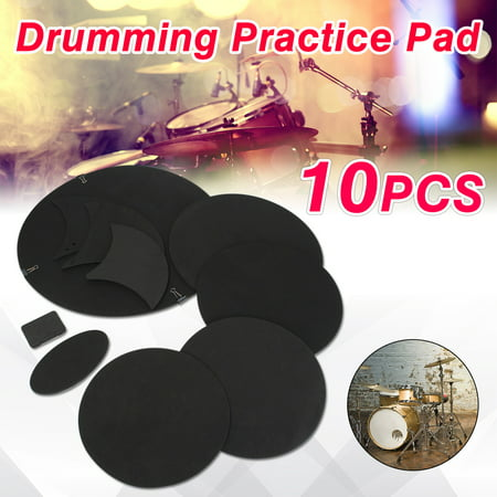 Drillpro 10Pcs/set Black Rubber Foam Bass Snare Drum Sound Off Quiet Mute Silencer Drumming Practice Pad