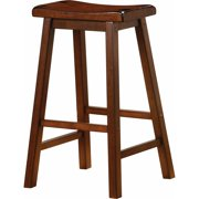 Wooden Casual Bar Height Stool, Chestnut Brown, Set of 2