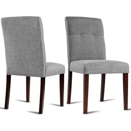 Gymax Set of 2 Dining Chair Parson Linen Fabric Upholstered with Solid Wood Legs Gray