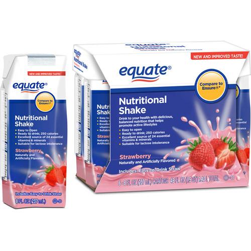 Equate Regular Strawberry Nutritional Shake, 6 pk