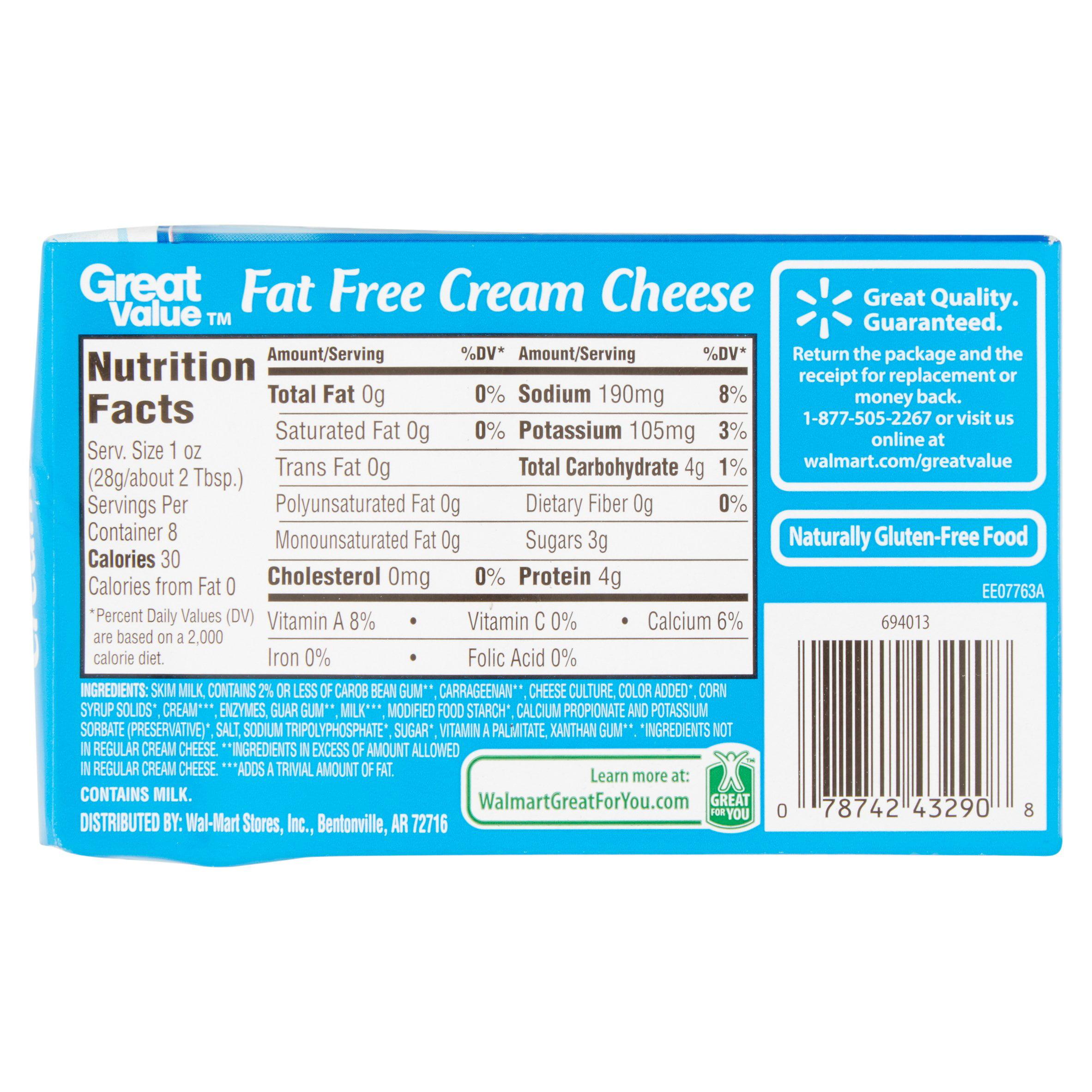 great value fat free cream cheese 8 oz walmart com