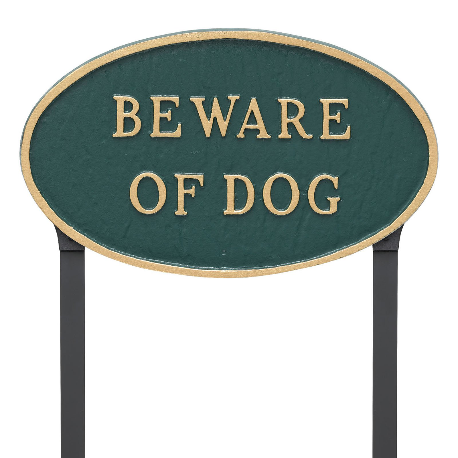 Montague Metal Products Beware Of Dog Oval Lawn Plaque