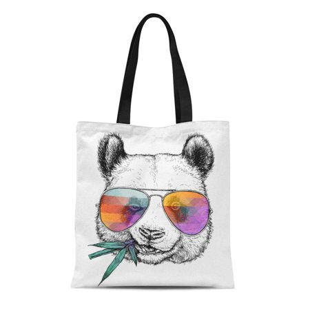 KDAGR Canvas Tote Bag Drawn Portrait of Funny Panda in Glasses Bamboo Branch Durable Reusable Shopping Shoulder Grocery Bag