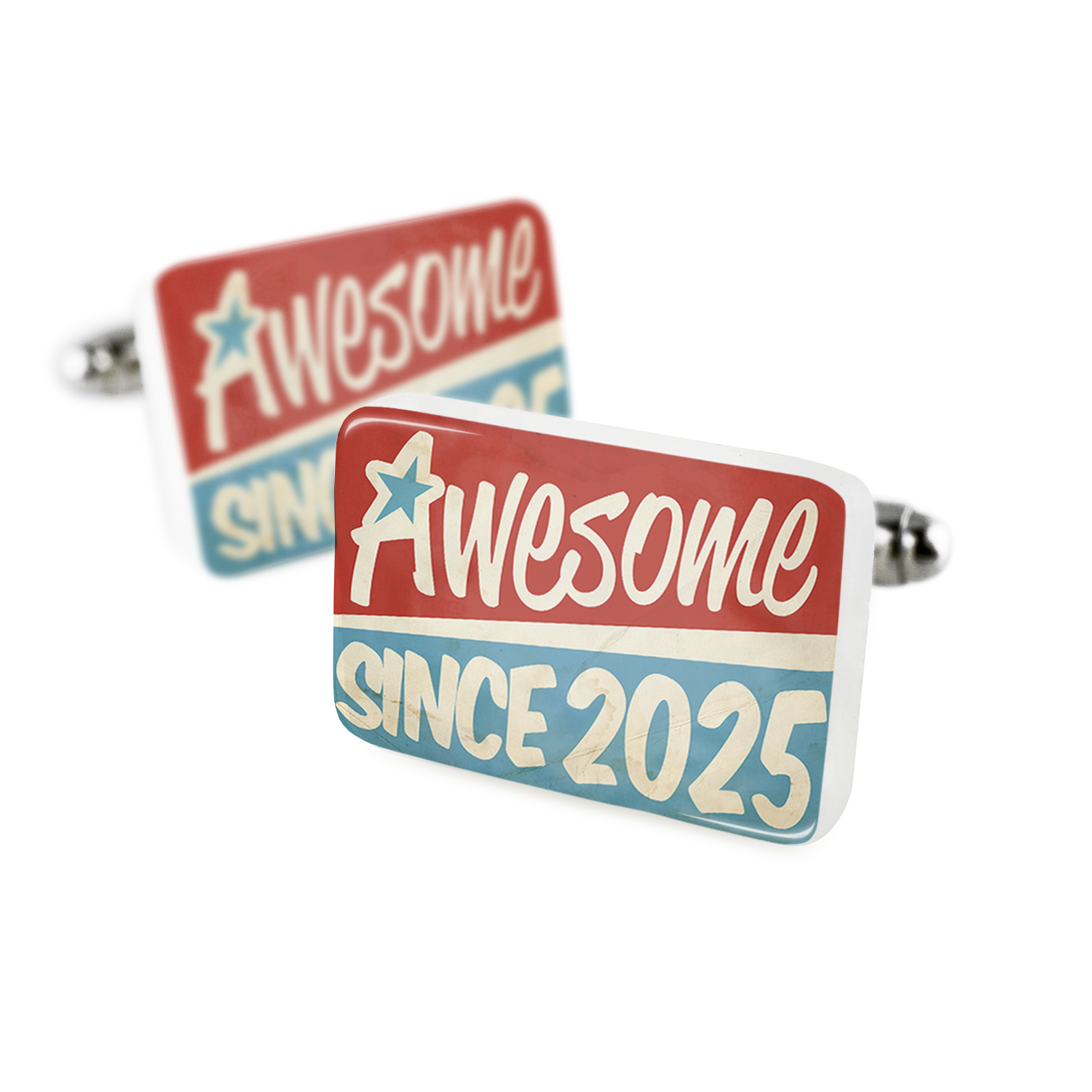 Cufflinks Awesome since 2025, Birthday/YearPorcelain Ceramic NEONBLOND