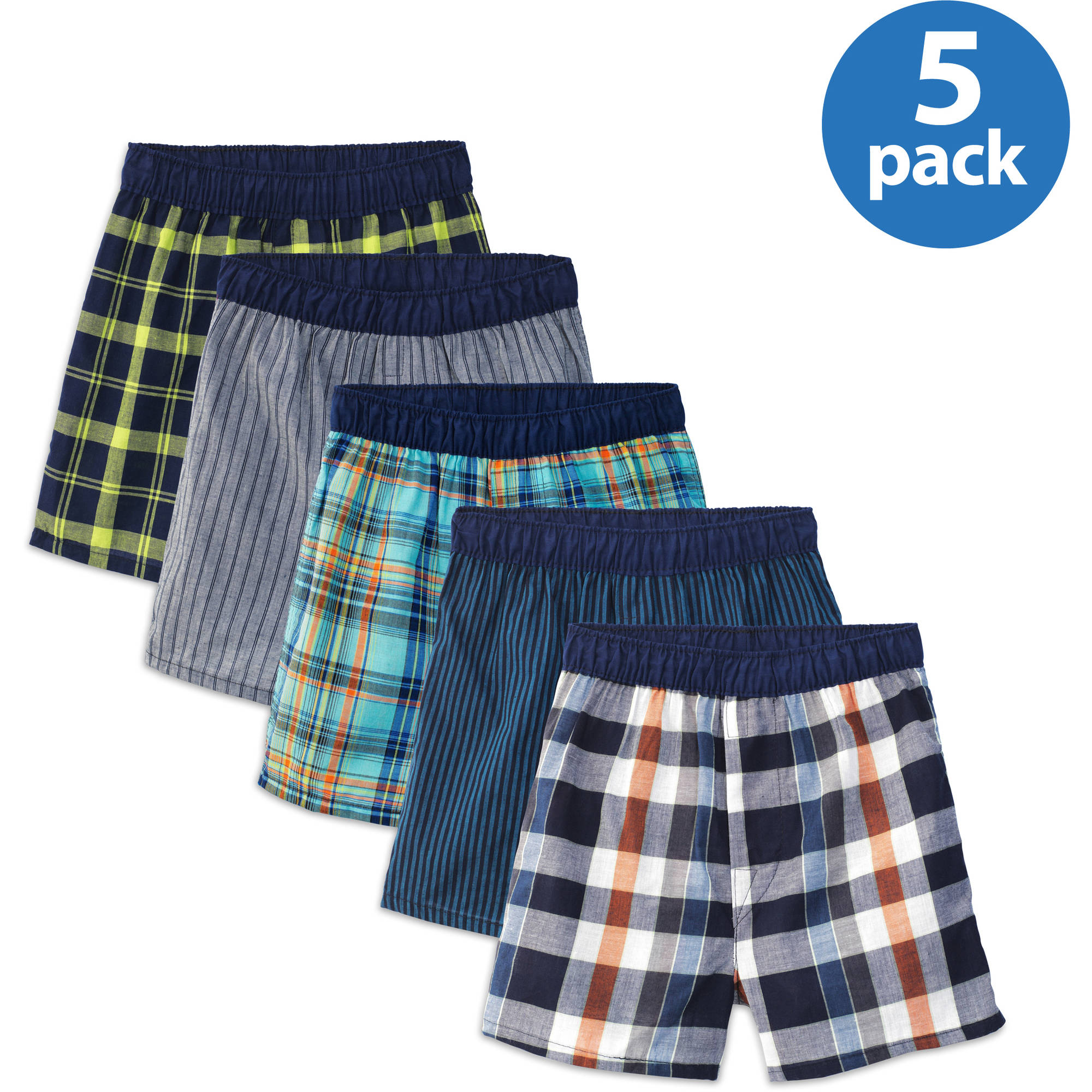 Fruit of the Loom Boys' Assorted Covered Waistband Boxers, 5 Pack
