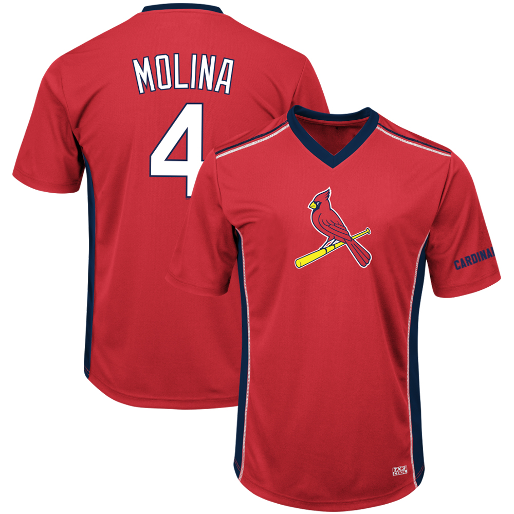 Men's Majestic Yadier Molina Red St. Louis Cardinals Player Name & Number Cool Base V-Neck T-Shirt by MAJESTIC LSG