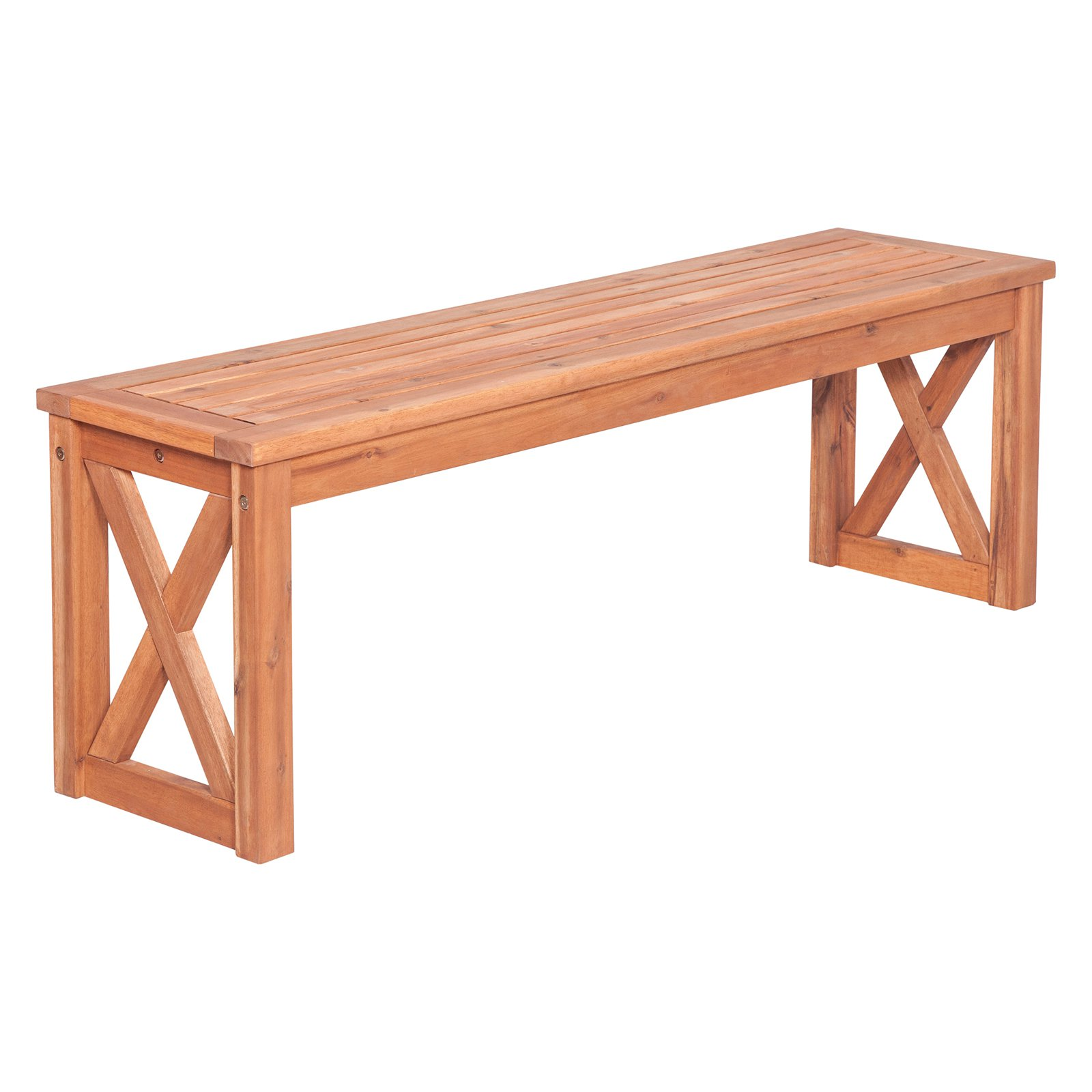 Walker Edison Acacia 53 in. Backless Patio Bench - Brown